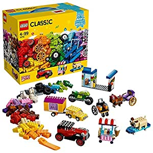 LEGO Classic Mattoncini su Ruote, Set di Costruzioni, Mattoncini Colorati per Veicoli con Pneumatici e Ruote (422 Pezzi… LEGO