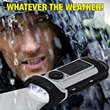 NEW Re-Wind Wind-Up Solar Rechargeable Waterproof LED Torch Flashlight with Non-Slip Rubber Finish and Wrist Strap - Powerful 3 LED Beam, Submersible up to 5M - Ideal for Marine use, Walking, Hiking, Camping, Festivals, Caravans and Car Breakdown - No Batteries Required