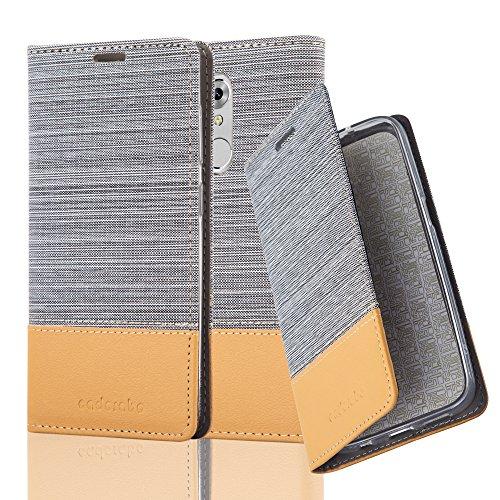 Cadorabo Hülle für ZTE AXON 7 Mini - Hülle in HELL GRAU BRAUN – Handyhülle mit Standfunktion und Kartenfach im Stoff Design - Case Cover Schutzhülle Etui Tasche Book