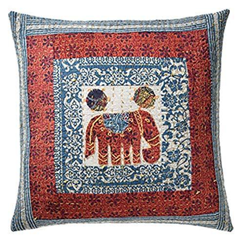 Second Nature Online - Funda de cojín (100% algodón, 45 x 45 cm), diseño de Elefante, Color Rojo y Azul