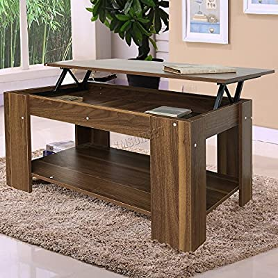 FoxHunter Lift Up Top coffee Table With Storage and Shelf Living Room Furniture Modern CT01 Walnut - inexpensive UK light shop.