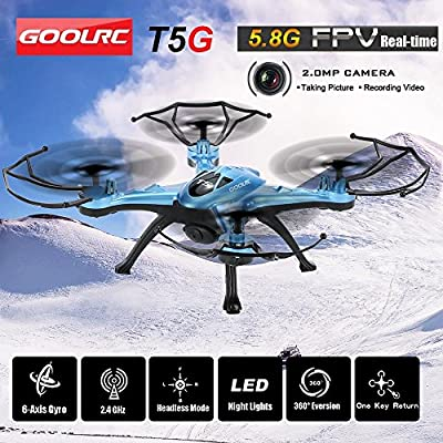 GoolRC T5G Real Time Video Drone 2.0MP HD Camera RC Quadcopter with One Key Return CF Mode 360° Eversion Function