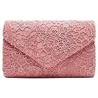 Wiwsi Women Fashion Envelope Design Hollow Lace Clutch Case Evening Purse Bag(Coral)