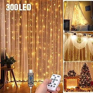 Cortina de Luces,Tomshine 3×3 Metros 300 LEDs Regulable Cortina de Luces Led con Control Remoto,8 Modos de Luz,IP65 Impermeable,Decoración de Navidad,Fiestas, Bodas,Jardín(Blanco Cálido)