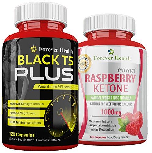 T5Nero PLUS + Chetone Lampone Raspberry Ketone Forti Pillole Dimagranti Per la Perdita di Peso (Perdita Di Grasso)