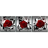 VORCOOL 3pcs Impression sur Toile 3 Parties Rose Fleur Impression sur Toile Décoration Murale pour Chambre Peintures à l…