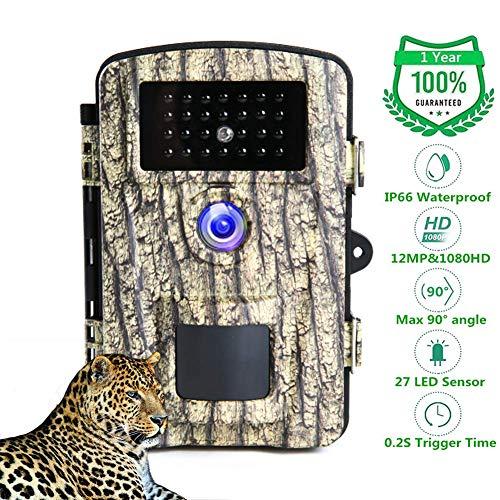 """Camara de Caza 1080P 12MP Cámaras De Caza IP66 Impermeable Trail Cámara De Visión Nocturna Activada por Camara Caza Nocturna LEDs IR y 2.31 """"Pantalla LCD Sensor de Movimiento"""