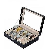 Revesun Watch Box Grand 12 Montres En Cuir Vitrine Boîte De Rangement De Bijoux Organisateur