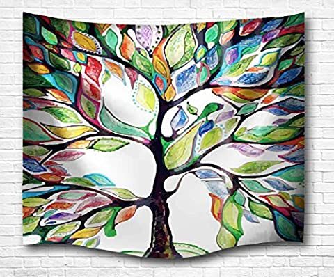 A.Monamour Geometric Colorful Tree Leaves Birds Tattoo Picture Print Contemporary Art Wall Hanging Tapestry Wall Mural Decoration for Dorms