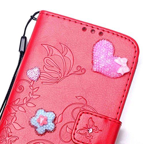 iPhone Case Cover Single Side Geprägte Blumenmuster PU-Leder-Kasten, Harz Rhinestone-Kasten-Buch-Entwurfs faltbare Bügel-Kasten-Mappen-Standplatz-Fall für Apple iPhone 7 ( Color : Rose Red , Size : Ip Red
