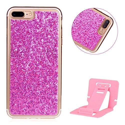 Luxe Coque iPhone 7 Plus,iPhone 7 Plus Housse Strass,Ekakashop Creative Design D'or Bling Shiny Brillant Paillettes Transparente Clair Cristal Clear Flexible Souple Case étui Rigide Defender Protecteu Rose Rouge