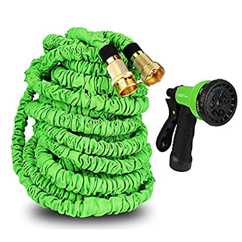 Magic Expandble Garden Hose Shut Off Valve Splitter with 8 Functional Spray Gun High Pressure (100ft, Green)