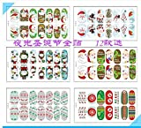 12 Packs Assorted Christmas Series Full Nail Art Decal Wrap, Nail Art Tips Pack Decal Wrap Sparking Stickers with Gliter (14 Stripes Each)