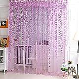 Cortina de mimbre Hilados producto terminado para la sala de tul cortina de ventana de la decoración-púrpura