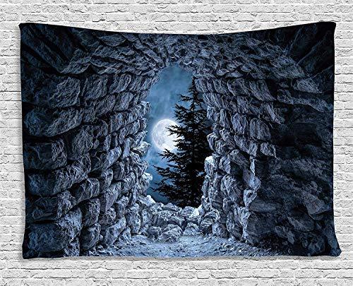 Gothic Decor Wandteppich dunkle Höhle mit dem Licht des Vollmondes bei Nacht Gruselig Horror Mittelalter Gothic Themen-Kunstwerk Wandbehang für Schlafzimmer Wohnzimmer
