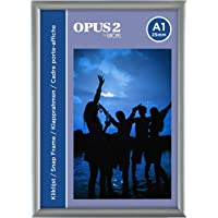 OPUS 2 Snap Frame A1, 25 mm   Aluminium Anodised Construction & Anti-Glare Cover   Clip Poster Holders for Retail & Advertising Displays   Notice Sign Board Frame for Walls, 355013