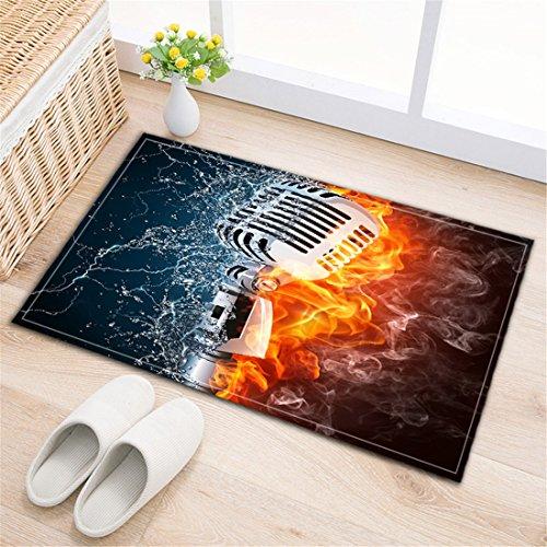 LB Badezimmer Teppiche rutschfeste saugfähige Badematten weichen Duschvorleger (60 * 40 cm) Wasser,Feuer,Rauch-Hintergrund, Mikrofon (Rauch-teppich)