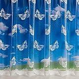 Filigree - Gardine mit Kopfband - Weiß - laufender Meter - Großer Schmetterling - 229 cm