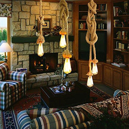 Lixada Lámpara Cuerda Vintage, E27 100 cm Lámpara de Techo de Cáñamo  Rústico Retro Estilo 0f467302c2c4