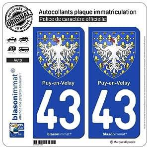 2 Autocollants plaque d'immatriculation auto 43000 Puy-en-Velay - Armoiries