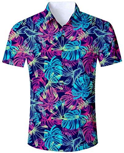 Goodstoworld La Camisa Hawaiana Hombre de Manga Corta Casual abotona Las Camisas de Vacaciones 3D imprimió la Camisa Colorida Hojas Tropicales M