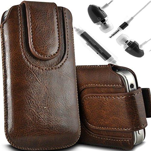 Brun/Brown - Vodafone Smart 4 Housse et étui de protection en cuir PU de qualité supérieure à cordon avec fermeture par bouton magnétique et stylet tactile pour par Gadget Giant® Brun/Brown & Ear Phone