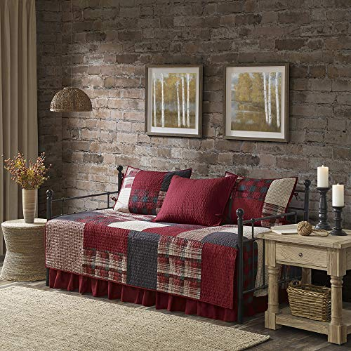 Woolrich Sunset 5 Piece 100% Cotton Plaid Quilt Set Coverlet Bedding, Day Size, Red Sunset Ruffle Skirt