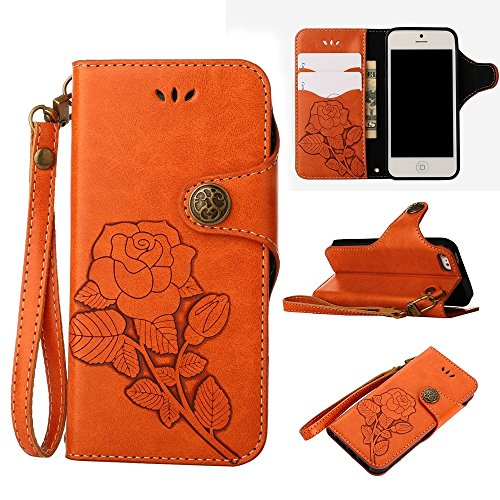 YHUISEN iPhone SE 5S Fall, Luxus Retro Rose Premium PU Leder Magnetverschluss Flip Wallet Schutzhülle mit Lanyard für iPhone SE / 5S / 5 ( Color : Blue ) Orange
