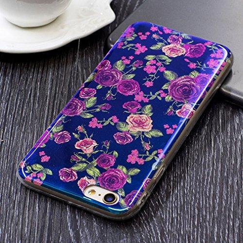 Hülle Für iPhone 6S,Blaues Licht Reflektieren Handy Hülle Für iPhone 6,Funyye Luxuriös Schön Mode Blau Licht Weiß Floral Blume Muster Entwurf Shining Glitzer TPU Soft Weich Ultra Thin Dünn Zurück Sili Klein Rose