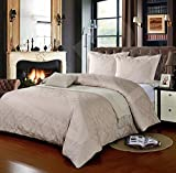 500 Thread Count KING BED SIZE DAMASK BISCUIT 100% Cotton Jacquard Duvet Cover With Pair of Pillowcases