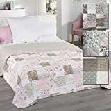Wende-Tagesdecke Patchwork 220 x 240 cm als Bettüberwurf oder Sofaüberwurf Decke in verschiedenen Designs Schlafdecke Plaid mit Thermopolyester, Design:Floral Rosa