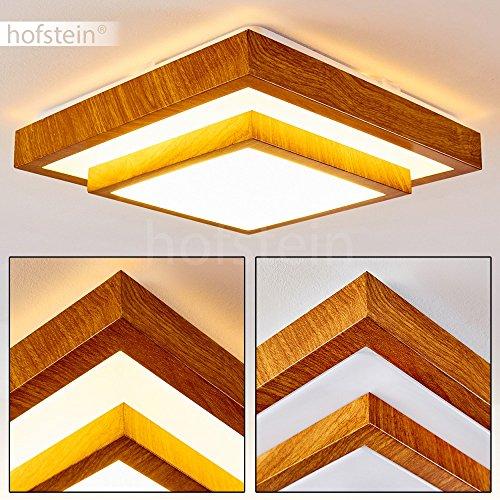 Moderner LED Deckenstrahler in Holz-Optik – Badezimmer-Lampe Sora – warmweißes Deckenlicht 1380 Lumen – 18 Watt – 3000 Kelvin – eckige, 1-flammige Zimmerleuchte auch für Küche, Flur, Wohnzimmer (Decke Holz)