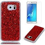 Funda para Samsung Galaxy S7 Edge de Silicona y Protector de Pantalla ,OYIME Carcasa Purpurina Brillante Original Resistente Fina Suave Transparente TPU Gel Protección para Samsung Galaxy S7 Edge - Rojo