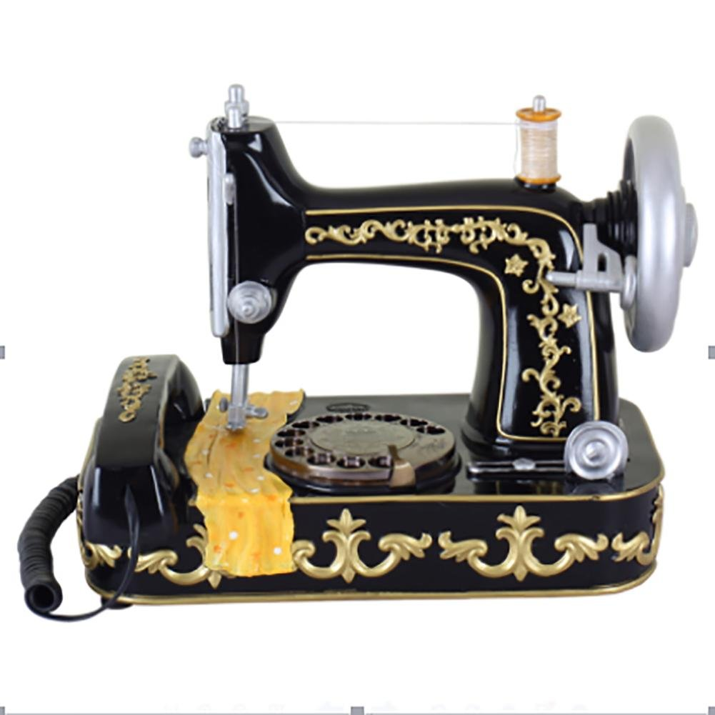 bbiay Retro personalità artigianato casa scrivania telefono antico stile macchina da cucire con Push