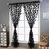 SEAWOOD 2Blatt Tüll Tür Fenster Vorhang Tuch Panel Sheer Schal Volants–Schwarz, schwarz, Einheitsgröße
