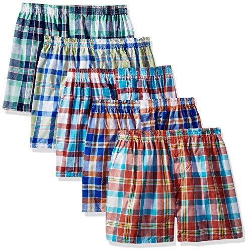 Fruit of the Loom Men's Big and Tall Size Tartan Boxers(Pack of 5)