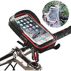 Support Vélo Sacoche de Cadre Téléphone Etanche, Smartphone Guidon Fixation Universel Rotatif à 360 Résistant à la Poussière Pluie Neige Sacs avec Housse avant pour iPhone 7 6 6s GPS sous 6 Pouces