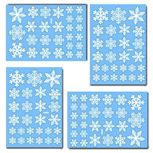 Tuopuda 216 Weihnachten Schneeflocken Fenster Deko Schneeflocken Aufkleber Statisch Fensterbilder (216 Schneeflocken)