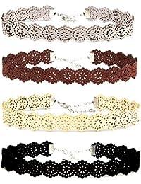 Hexawata Gothic 90s Black Lace Velvet Elastic Henna Tattoo Lace Choker Necklace Set Of 4