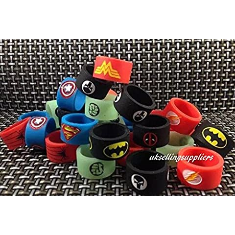 Vape Band anelli (Confezione di 6 Design casuale) 19 mm x 12 mm Nuovo Spiderman Hulk Glow in the Dark Deadpool Capitan America Punisher Batman, Superman, Flash e Iron Man per RTA RDA Atomizers UKSELLINGSUPPLIERS