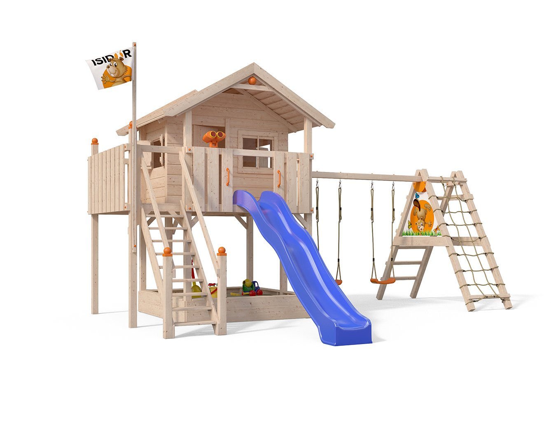ISIDOR XL-Baumhaus COLINO Spielturm mit erweitertem Schaukelanbau und Sicherhheitstreppe, XXL- Rutsche, Sandkasten und…