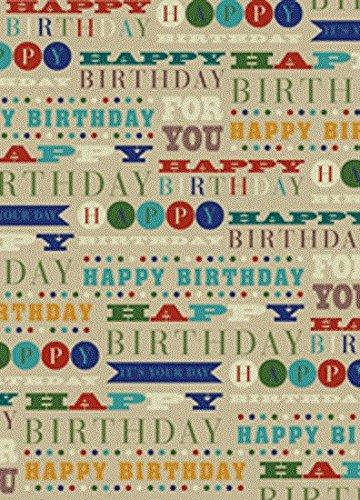 (2 Bögen Geschenkpapier zum Geburtstag mit passendem Geschenkanhänger, Motiv Hut, Schnurrbart)