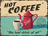 Hot Coffee Pot & Cup for Cafe, drink, or Kitchen Old Vintage Retro Advertising Decorative Small Metal/Steel Wall Sign