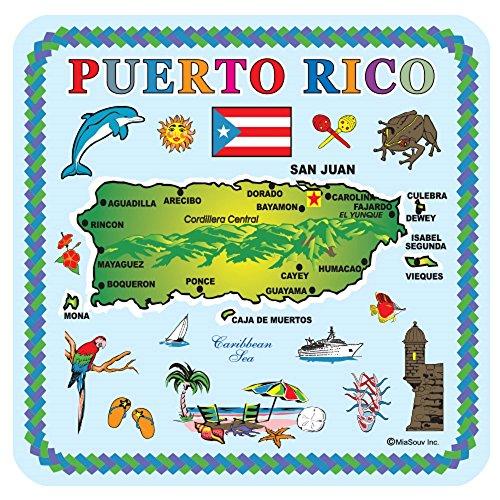 Untersetzer Souvenir und Geschenk Set-Puerto Rico 6Stück Kork Untersetzer
