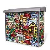 BURG-WÄCHTER Edelstahl Briefkasten, Motivbriefkasten Modell Secu Line 31,5 x 38,5 x 11,5cm, Design Briefkasten mit Motiv Funky Town