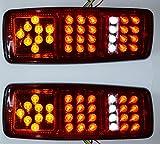 Set di 2x 12V 33SMD LED luci posteriori 4funzioni Fanale Posteriore Fanale stop fuoco lampeggiante fuoco Marche posteriore per camion rimorchio furgone Chassis Caravan Trattore universale
