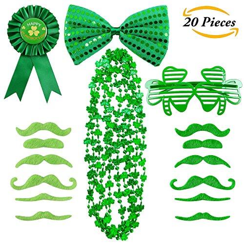 atrick's Day Zubehör Set Perlen Halskette Shamrock Brille Schnurrbärte Pailletten Bogen Abzeichen Verkleiden Kostüm Dekoration St. Patrick Party Favors (Patrick Kostüme)