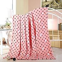 "Eazyhurry Tasty Apple Red Dot Print Lightweight Flannel Velvet Fleece Blanket Super Soft Plush Throw Full Size Super Warm Fuzzy Microfiber Bedding Blanket for Sofa/Bed/Couch Pink 71"" X 79"""