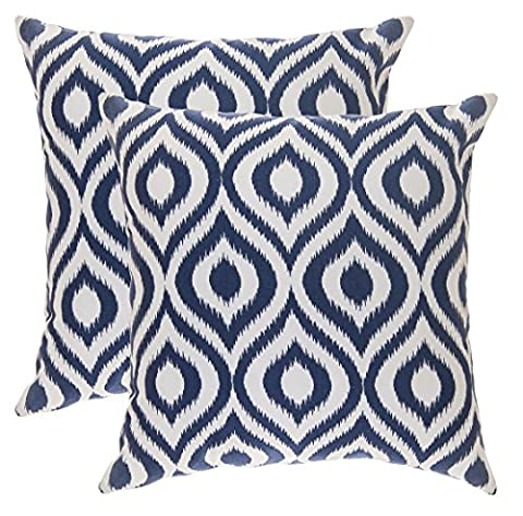 TreeWool, (Pack of 2) Cotton Canvas Ikat Ogee Accent Decorative Cushion Covers (55 x 55 cm, Navy Blue & White)