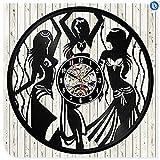 schwarze CD-Schallplattenuhr Ballett Tanz der Film Design Vinyl 3D Wanduhr Tango Salsa Pole Dance Wandaufkleber Tropische Partydekorationen, 2Geschenk an Ihre Freunde und Familie für jeden Anlass